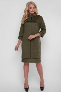 Сукня «Мішель-замш» оливкового кольору