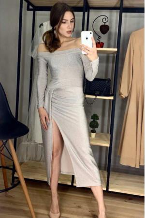 Платье «Диора» серебристого цвета