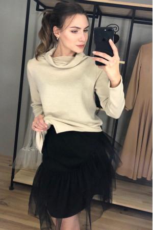 Платье-туника «Бланч» бежево-черного цвета