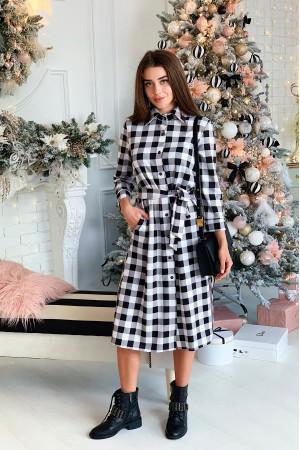 Платье-рубашка «Нария» черно-белого цвета
