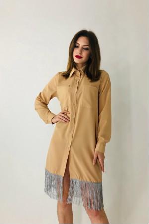 Платье-рубашка «Бертони» бежевого цвета