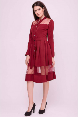 Платье «Завия» бордового цвета