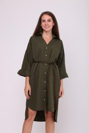 Платье-рубашка «Одрия» цвета хаки