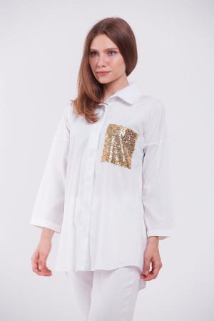 Блуза «Галочка» білого кольору з пайєтками