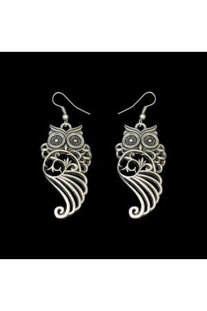 Серьги «Совушка ажурная», серебро