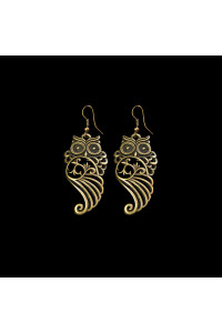 Сережки «Совушка ажурна», бронзового кольору