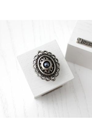 Кольцо «Романия» ажур, гематит, серебристого цвета