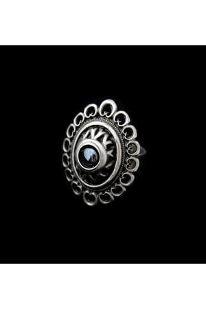 Перстень «Романія» ажур, гематит, сріблястого кольору