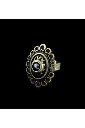 Перстень «Романія» ажур, гематит (бронза)