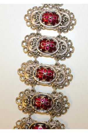 Браслет «Романия. Византийский крест» эмаль, рубин