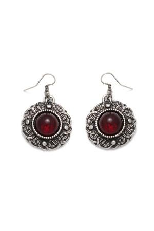 Сережки «Безанта» сріблястого кольору з червоним кабошоном