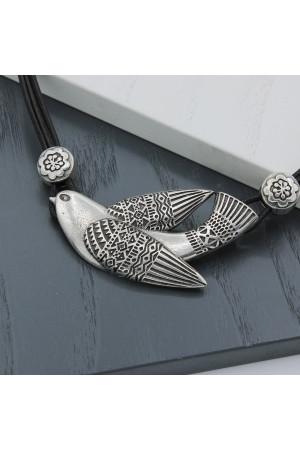 Колье «Птаха» серебро