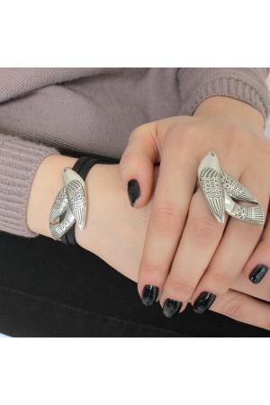 Браслет «Птаха» серебро, 17 размер