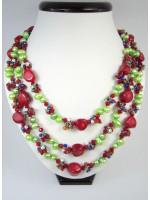 Ожерелье из кораллов, сердолика и жемчуга
