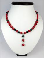 Ожерелье из кораллов и малахита «История любви»