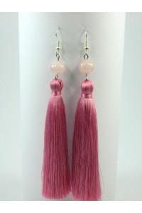 Сережки-китиці з рожевим кварцем