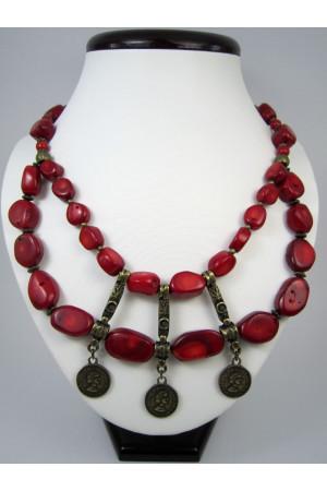 Коралловое ожерелье «Осеннее»