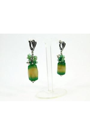Сережки з зеленого агату