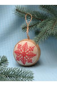 """Ялинкова кулька """"Сніжинка"""" з червоним орнаментом"""