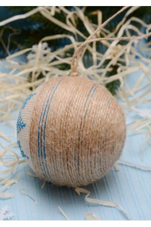 """Елочный шарик """"Снежинка"""" с голубым орнаментом"""