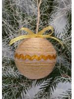 Елочный шар «Кантри» с золотистой тесьмой