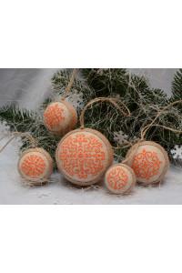 Набір ялинкових кульок «Сніжинки» помаранчевого кольору