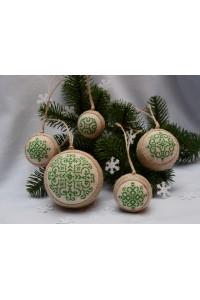 Набір ялинкових кульок «Сніжинки» зеленого кольору