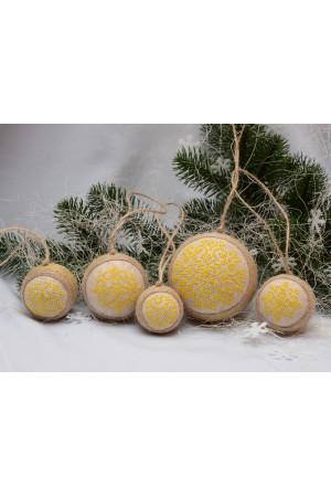 Набір ялинкових кульок «Сніжинки» жовтого кольору