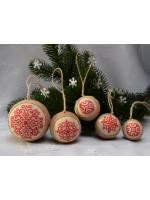 Набір ялинкових кульок «Сніжинки» червоного кольору