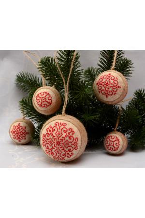 Набор елочных шаров «Снежинки» красного цвета