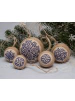 Набір ялинкових кульок «Сніжинки» синього кольору