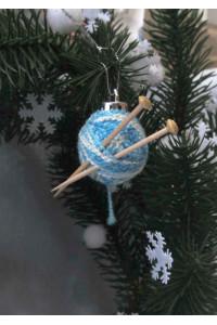 Ялинкова іграшка «Клубочок» блакитного кольору
