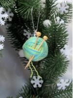 Елочная игрушка «Клубочек» бирюзового цвета