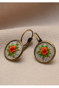 Вишиті сережки «Помаранчеві троянди»