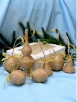 Набор елочных украшений «Рустик » с золотой тесьмой