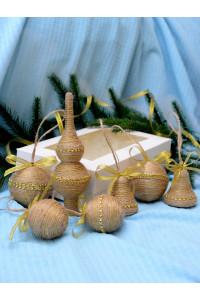 Набір ялинкових прикрас «Рустик» з золотистою тасьмою