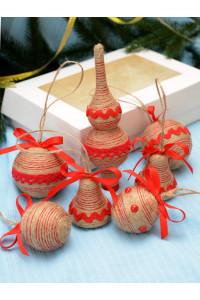 Набір ялинкових прикрас «Прованс» з червоною тасьмою
