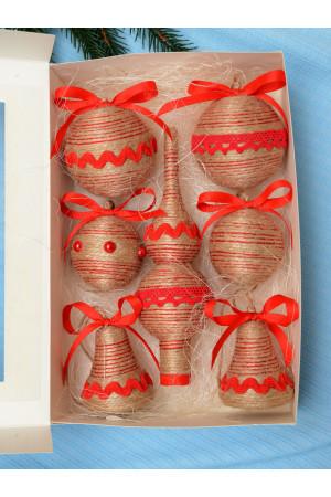 Набор елочных украшений «Прованс» с красной тесьмой
