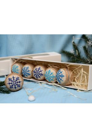 Набір ялинкових кульок «Крижинка»: блакитний, синій, темно-синій кольори