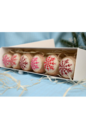 Набір ялинкових кульок «Крижинка»: рожевий, червоний, вишневий кольори