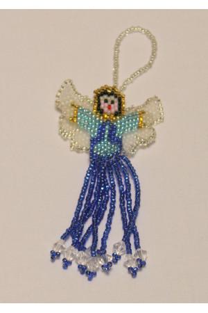 Ангелочек из голубого бисера
