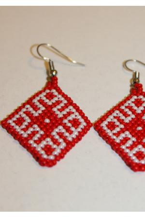Сережки з бісеру «Орнамент» червоно-білі