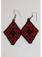 Сережки из бисера «Орнамент» красно-черные