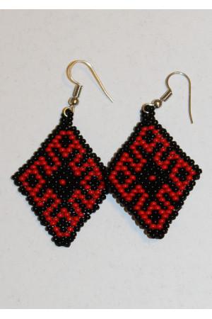Сережки из бисера «Орнамент» красно-белые