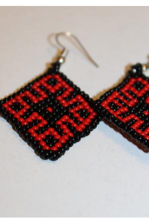 Сережки з бісеру «Орнамент» червоно-чорні