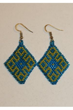 Сережки з бісеру «Орнамент» жовто-блакитні
