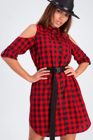 Сукня «Фоджі» червоного кольору в клітинку
