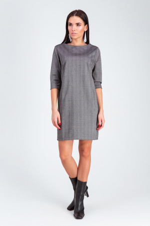 Платье «Софи» темно-серого цвета в рубчик