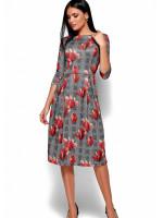 Сукня «Амелла» сірого кольору з кораловими квітами