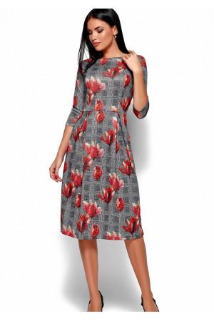 Платье «Амелла» серого цвета с коралловыми цветами